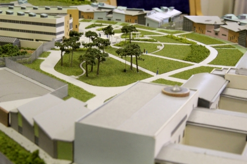 Scale model of the new hospital.